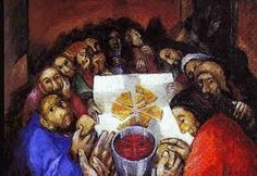 """Sieger Köder (German priest-artist, 1925- ), """"The Last Supper."""" The painting is from the perspective of Christ facing his disciples. You see Jesus' face reflected in the cup of red wine, the Chi Rho symbol in the broken bread, the cross, etc."""