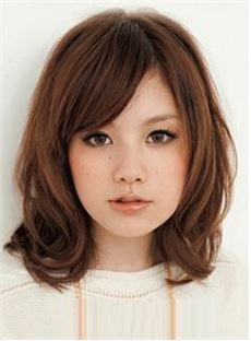 Short With Side Bang 12 Inches Human Hair Mono Lace Wig For Cute Girl