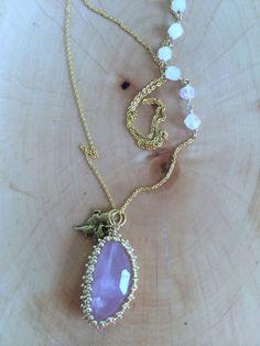 Rose Quartz Necklace Rose Quartz Pendant Hand by RachelBSeeds, $42.00