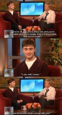 Daniel on The Ellen DeGeneres Show -Harry Potter Harry Potter Jokes, Harry Potter Cast, Harry Potter Fandom, Harry Draco, Scorpius And Rose, Funny Memes, Hilarious, Funny Shit, Funny Tweets