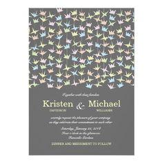 Hanging Origami Paper Cranes (Pewter) Wedding Card