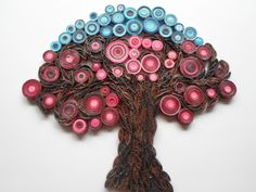 Wall decoration Tree of life wall hanging Modern red home decor Quilled tree wall art. $35.00, via Etsy.