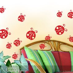 Ladybugs Vinyl Decal Wall Pattern - Fun for Polka Dot Wall Decor - Laptop Stickers, Party Decorations - Cardinal Red or Your Choice by Twistmo on Etsy https://www.etsy.com/listing/150595824/ladybugs-vinyl-decal-wall-pattern-fun