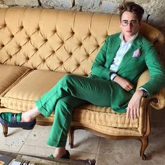 Green this summer #style #menswear #suit #green #sartorial <3