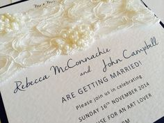 Lace embellished flat card invites by Made Marvellous