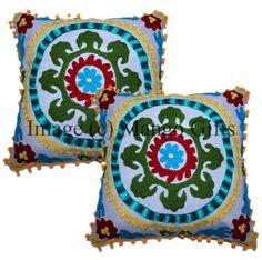 "Pom Pom Vintage Suzani Cushion Cover Embroidered 16x16"" Indian Pillow Case 2 Pcs #Handmade #ArtDecoStyle"