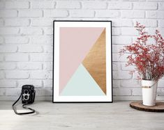 PRINTABLE Modern Home Decor, Pastel Mint and Blush with Rose Gold, Wall Art, Stylish, Interiors 8x10