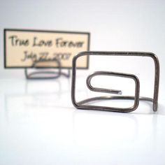 Two Silver Rectangle Wire Place Card Holders
