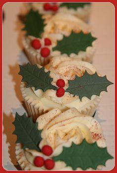 Vanilla Cupcake with holly | Amanda Mumbray | Flickr