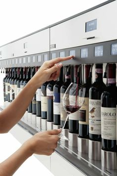 The Brix Bistro offers 64 wines served through the Enomatic Wine Serving System. Brix was the first establishment in Omaha to offer the Enomatic Wine Serving System. Caves, Wine Away, Wine Bistro, Wine Cupcakes, Bar A Vin, Wine Dispenser, Home Wine Cellars, Home Bar Designs, Wine Display