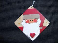 Tole Painted Santa Patch Ornament