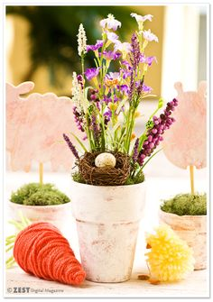 Easter and Spring Table Decor - Whitewashed Flower Pots DIY