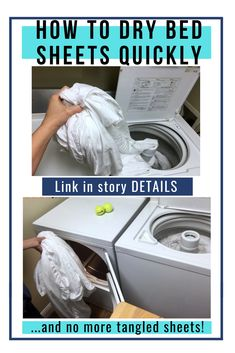 Frustrated by sheets becoming a tangled mess in the dryer all the time? Want to know the quickest way to dry bed sheets in the dryer WITHOUT them getting tangled in a big ball? Here's the #1 best laundry hack to dry sheets quickly in the dryer without the sheets getting all bunched up in a wad! This hack REALLY works. Now you'll be able to dry sheets faster and easier in the dryer -- and no more ball of sheets when the dryer is done!   tangled sheets   dry sheets hacks   dry sheets diy Laundry Sorting, Doing Laundry, Laundry Hacks, Laundry Room, House Cleaning Tips, Diy Cleaning Products, Cleaning Hacks, Home Maintenance Schedule, Diy Home Crafts