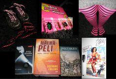 Lokakuu 2013, arvoteema. 2 x kengännauhat, pre paid -liittymät, raitasukkahousut, Fifty shades of Grey -Sidottu, Nälkäpeli osat 1-3 ja Maamies ja lohikäärme -kirjat, ötökkäkoristuksia & puhekuplamagneetit.
