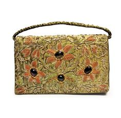 Olive Tone, Silk, Gold Thread and Cabochon Gemstone Lady's Evening Bag - Lot 49 in June 19th 2013 Auction