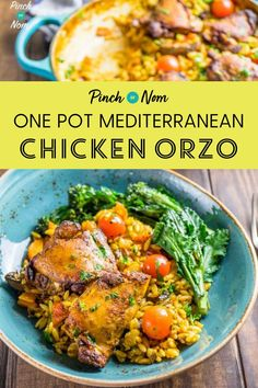 If it's a chilly day, this One Pot Mediterranean Chicken Orzo recipe is one of those dishes that reminds you of summer! Easy Pasta Recipes, Healthy Chicken Recipes, Lunch Recipes, Dinner Recipes, Bbc Recipes, Recipies, Mediterranean Chicken, Mediterranean Recipes, Slimming World Recipes Syn Free