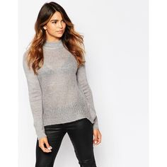 Only Long Sleeve Swing Sweater with High Neck ($26) ❤ liked on Polyvore featuring tops, sweaters, light grey melange, trapeze sweater, textured sweater, acrylic sweater, long sleeve sweaters and high neck top
