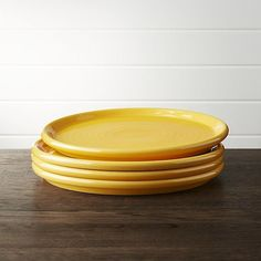 Crate \u0026 Barrel Set of 4 Farmhouse Yellow Dinner Plate & School Bus Yellow (Yellow) Dinner Plates | Yellow dinner plates ...