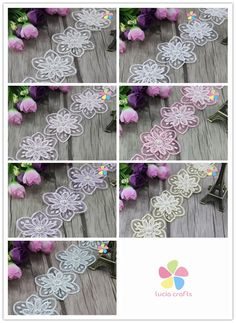 1yard/lot Multi colors option 6cm Double flower with pearls Lace Ribbon DIY Garment Sewing Accessories 050025074
