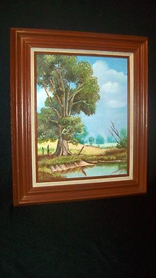 Vintage 11x14 Oil Painting - Tree Scene - Nice Wooden Frame (Mexico)