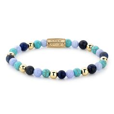 Gemstone bracelet handmade of sized Turquoise, Blue Lace Agate and Sodalite Blue stones with yellow gold plated balls and a yellow gold plated lock Handmade Bracelets, Beaded Bracelets, Blue Lace Agate, Blues, Jewelry Making, Turquoise, Gemstones, Winter