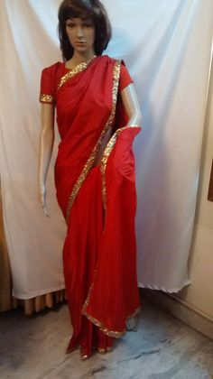 Red sico uppada with gold sequence border at www.vinnireddy.com