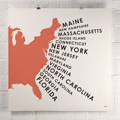 $26 Stretching the entire eastern seaboard, East Coast States is a modern cartographic interpretation for graphic design lovers and aesthetes alike. Created by Orange & Park, this highly detailed silhouette of the eastern coast of the United States features a trumpeting text that lists every state from the top of Maine to the tip of Florida in an composition as engaging as it is beautiful.