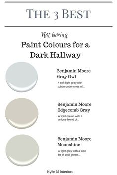 Cool The 3 best not boring paint colours for a dark hallway or stairwell by Kylie M Interiors. E-decor and Color Consulting The post The 3 best not boring paint colours for a dark hallway or stairwell by Kylie M I… appeared first on Ameria . Hallway Paint Colors, Best Paint Colors, Paint Colors For Home, House Colors, Colours For Hallways, Hallway Colour Schemes, Light Grey Paint Colors, Paint For A Dark Room, Paint Colors For Basement
