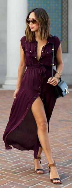In case you were wondering, shirt dresses are a definitely a yes this summer! Just take it from Aimee Song and this lovely burgundy dress with brown heels! Women's Fashion and Style, Summer Fashion, Maxi Dress, Summer Dress, Women's Clothing, Women's Shoes, Los Angeles, Miami, New York, Atlanta