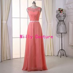 evening dress promcoral lace bridesmaid dress lace por MillyCouture
