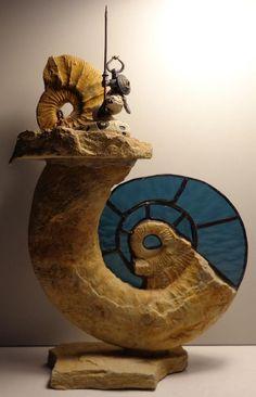 Ammonit Franken Jura Malm El Mercenario nach Segrelles