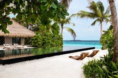 Beach pool at the Cheval Blanc Randheli Hotel in the Maldives designed by Jean-Michel Gathy