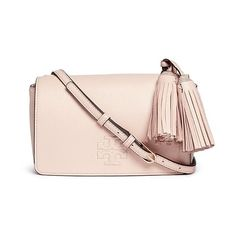 Tory Burch 'Thea Mini' pebbled leather crossbody tassel bag (6 185 ZAR) ❤ liked on Polyvore featuring bags, handbags, shoulder bags, pink, shoulder strap bag, crossbody handbags, mini shoulder bag, pink crossbody purse and pink purse