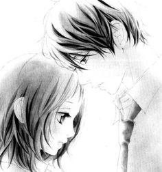 Anime art couple cute adorable boy girl