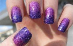 pink and purple sparkly nails