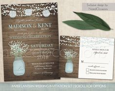 Mason Jar Wedding Invitations Suite Rustic Country Baby S Breath Blue Many Options Paper Lanterns