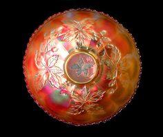 Marigold carnival glass bowl . Vintage Millersburg Glass acorn