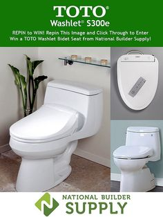 **This giveaway is now closed. Congratulations to our winner!** Repin to Win a TOTO S300e Washlet bidet seat from National Builder Supply! Repin and Click Through (double click) to enter! Giveaway ends 4/10. Good luck! Enter here: http://www.nationalbuildersupply.com/FbookContest/default.html
