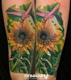 Sunflower by Gunnar V - Well detailed and beautiful sunflower tattoo by Gunnar V. this wonderful piece of art shows even the smallest details of the sunflower with addition of a dragonfly, the sunflower in the fields looks as realistic as it can be.