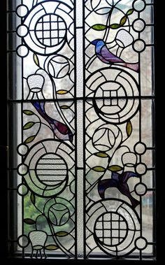 Stained Glass Window with Birds - Art Nouveau. Stained Glass Birds, Stained Glass Designs, Stained Glass Projects, Stained Glass Patterns, Stained Glass Windows, Mosaic Art, Mosaic Glass, Glass Vase, Art Et Architecture