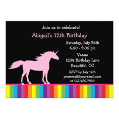 Unicorn Birthday Invitation Unicorn and Rainbow Birthday Invitation for Girls