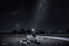 https://flic.kr/p/MdWfHm   The Dark Road.   Near Obley, mid western NSW, Australia, about 1 hour from Dubbo, which is about 5 hours from Sydney, in September 2016. Although this is one of my favourite photography spots I had not been on this road before.  Sony A7rii. Samyang 14mm f/2.8. HVL F60M speedlight. ISO1600 f/4.0 30sec. Capture One raw processing. Adobe CC Ps curves, levels, and vibrance.  Nik Silver Effects Pro 2 monochrome conversion.