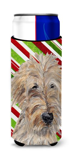 Goldendoodle Candy Cane Christmas Ultra Beverage Insulators for slim cans