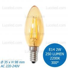 FSL® LAMPADINA LED CANDELA FILAMENTO AMBRATA E14 2W C35 FASCIO LUCE 300° 250LM