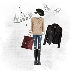 Rainy day with black hunter boots and polka dot sweater