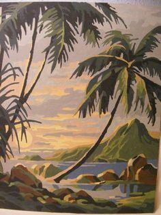 Vintage Pair of Paint by Number Tropical Palms Sea par Newfriend Hawaiian Art, Vintage Hawaiian, Paint By Number Vintage, Tiki Art, Tiki Tiki, Number Art, Tropical Art, Love Painting, Pictures To Paint
