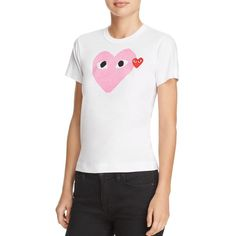 Comme Des Garcons Play Pink Heart Graphic Tee ($125) ❤ liked on Polyvore featuring tops, t-shirts, crew neck tee, white tee, white t shirt, logo t shirts and pink graphic tee