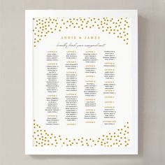 Nice INSTANT DOWNLOAD | Printable Seating Chart Poster Template | Gold Dots |  Word Or Pages |