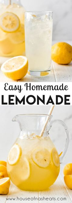 This fresh-squeezed Homemade Lemonade is an easy recipe for a hot summer day. The best part is that you can adjust the amount of simple syrup so the lemonade is as sweet or tart as you want. It's the perfect solution when you have a bunch of lemons! #lemonade #lemons #homemade #simplesyrup #easy #best #summer #drinks #nonalcoholic Winter Drinks, Summer Drinks, Fun Drinks, Healthy Drinks, Cold Drinks, Beverages, Healthy Eating, Lemon Dessert Recipes, Lemon Recipes