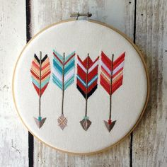 "Hoop Art - Arrows - Machine Embroidered Wall Hanging - Size 8"" - Embroidery Hoop…In Stock • AUD 27.95 Etsy"
